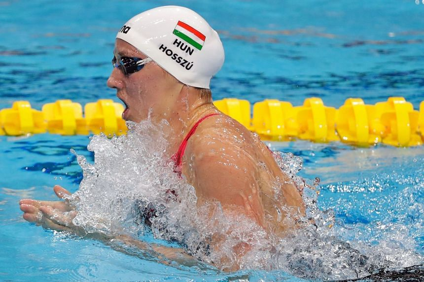 Katinka Hosszu of Hungary in action in the 400m individual medley final of the Fina Swimming World Cup at OCBC Aquatic Centre on Nov 16, 2018. She, Tom Shields and Michael Andrew filed the lawsuit.