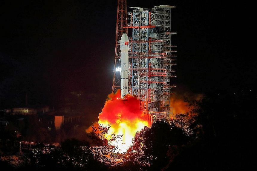 The Chang'e-4 lunar probe mission, set to land on the mountainous far side of the moon, being launched on a Long March 3B rocket from China's south-western Sichuan province yesterday morning.