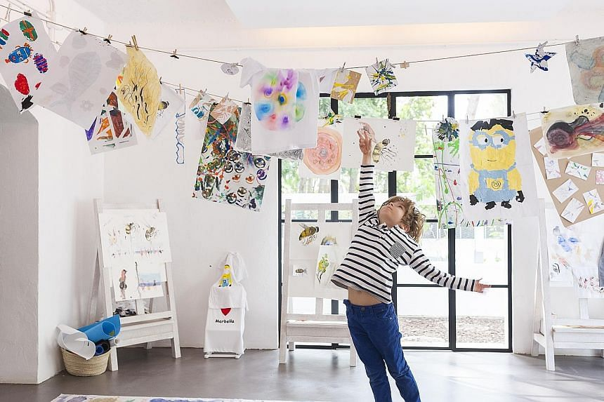 The kids' club at the Marbella Club Hotel has an art room (left), among other features.
