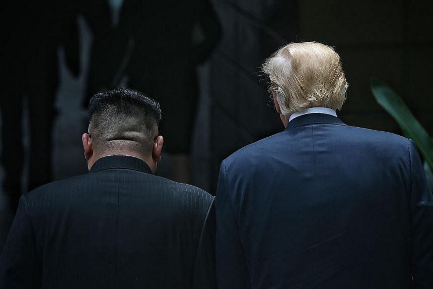 The winning shot of North Korean leader Kim Jong Un and US President Donald Trump on Sentosa after their historic meeting in June.