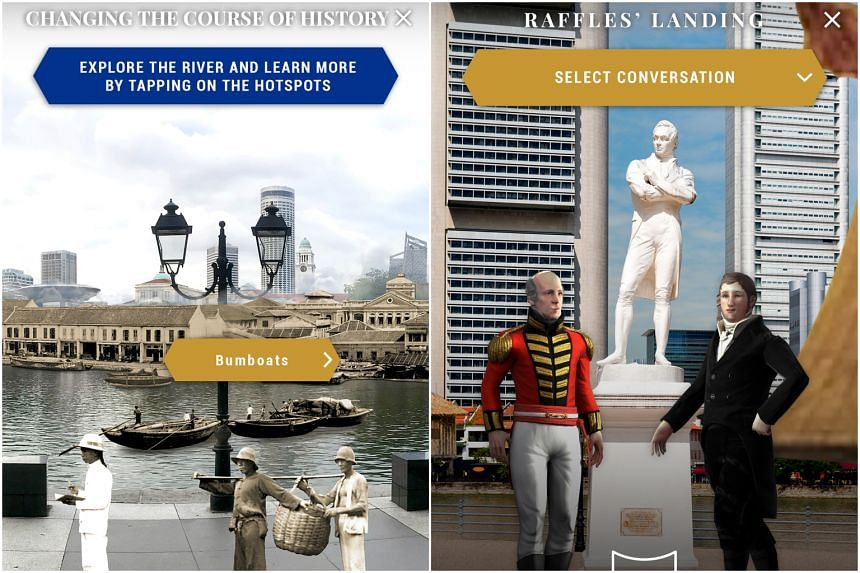 """The augmented reality app will allow users to """"meet"""" early settlers, including a Baweanese pondok chief, Chinese coolies (left), and Indian Chettiars, as well as Sir Stamford Raffles and William Farquhar (right)."""