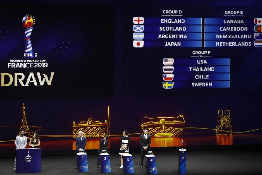 General view of the final groups during the draw ceremony for the FIFA Women's World Cup France 2019 in Paris, France, on Dec 8, 2018.