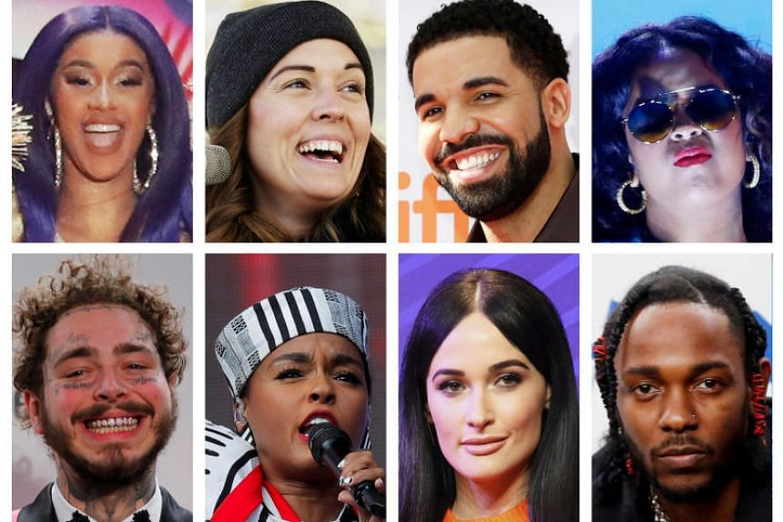 Grammy Award nominations in Album of the Year category includes artists (left to right from top) Cardi B, Brandi Carlile, Drake, H.E.R., Post Malone, Janelle Monae, Kacey Musgraves and Kendrick Lamar.