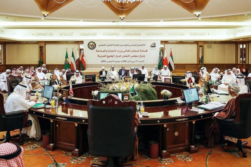 This picture taken on Nov 21, 2018 shows economic representatives of the Gulf Cooperation Council's (GCC) attending a meeting of the commerce and economic cooperation committee in Kuwait City.