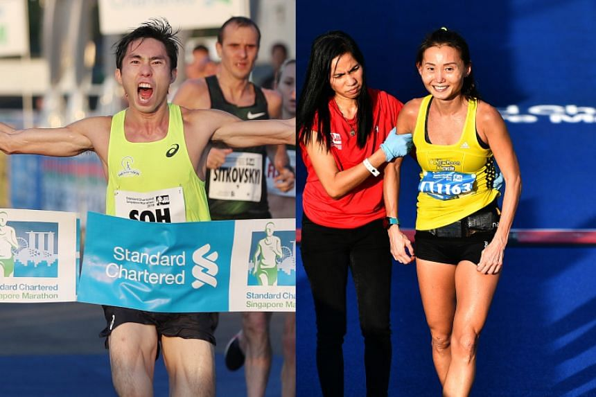 Soh Rui Yong (left) emerged as the top Singaporean male runner while physician Lim Baoying finished as the top Singaporean female runner at this year's Standard Chartered Singapore Marathon.