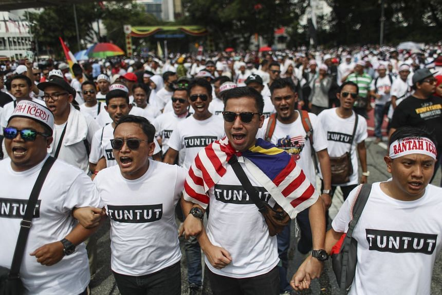 Demonstrators shout during the anti-ICERD (International Convention on the Elimination of All Forms of Racial Discrimination) rally in Kuala Lumpur, on Dec 8, 2018.