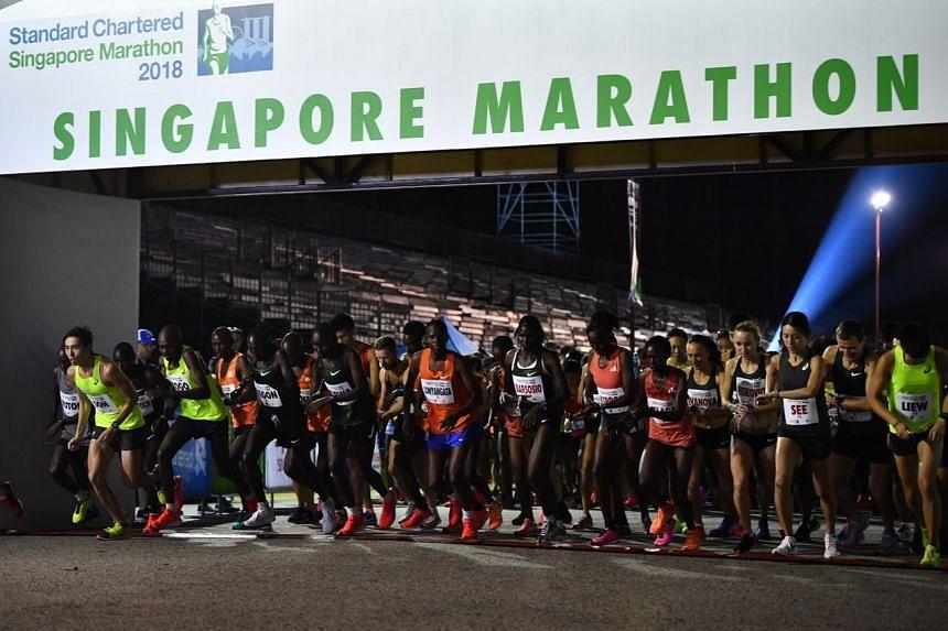 Flag-off for elite marathon runners.