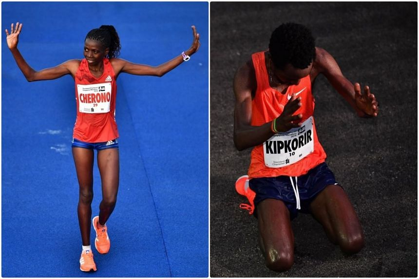 Winners of the Standard Chartered Singapore Marathon women's and men's category respectively, Priscah Cherono and Joshua Kipkorir.