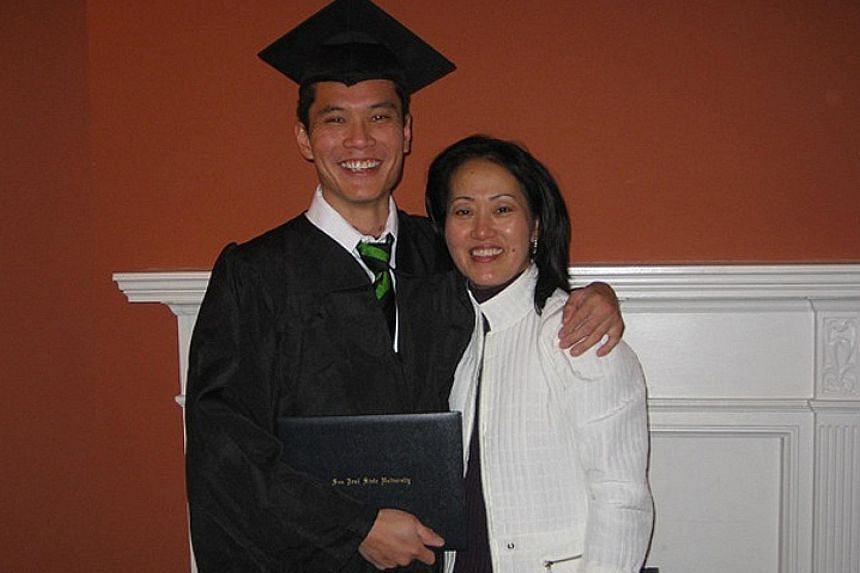Clockwise from above left: Mr Liu, pictured with his mother, eventually graduated with a double degree from San Jose State University in California in 2007, after crashing his Nissan Altima into a power pole on Dec 21, 2005. Even today, he still make