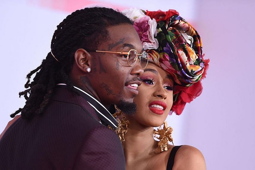 Rapper Offset with his wife, fellow rapper Cardi B, at this year's American Music Awards in Los Angeles in October.