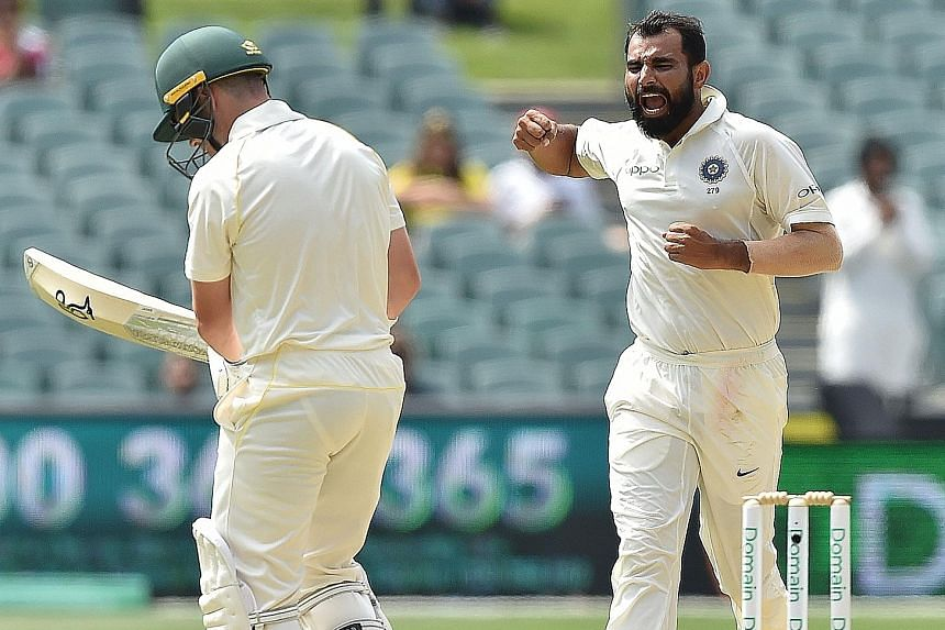 India's fast bowler Mohammed Shami celebrating dismissing Australia's opener Marcus Harris on day four of the first cricket Test at the Adelaide Oval. The hosts are 219 runs short of victory with six wickets left.