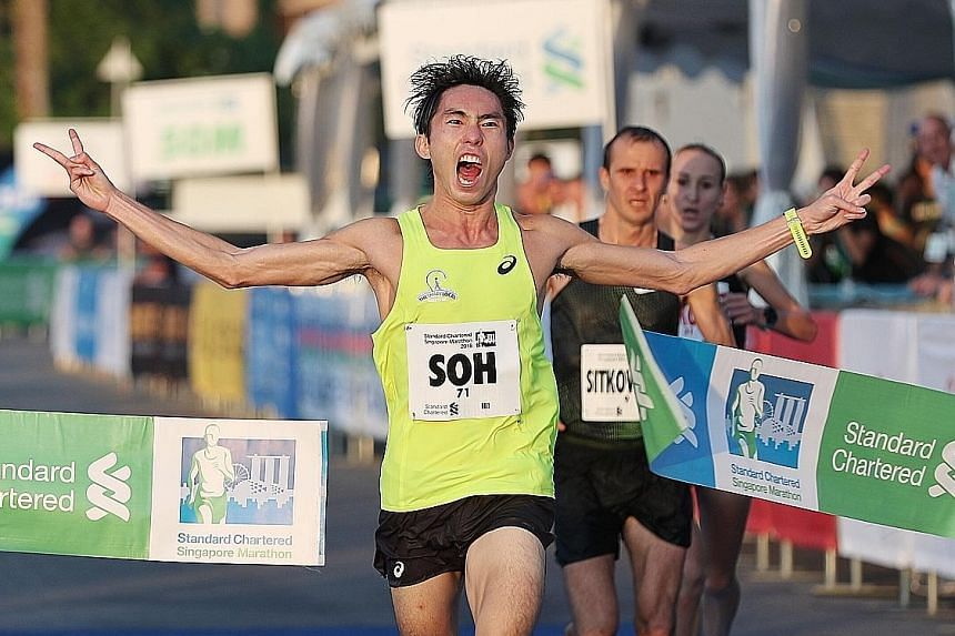 Soh Rui Yong winning yesterday despite clocking just a 2:41:49. He sees the Singapore race as a tune-up for his national record breaking bid in Tokyo in March.
