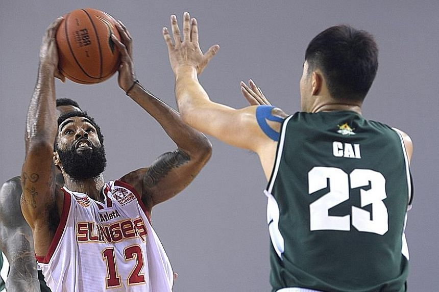 After the Singapore Slingers failed to score in the first two minutes, Jerran Young hit his team's first nine points to end with a game-high 27 against Zhuhai Wolf Warriors yesterday at OCBC Arena.