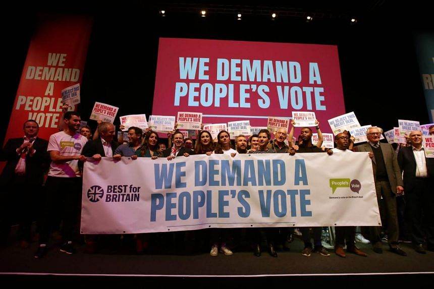 Pro-Europe speakers, politicians and celebrities pose for a photograph at a rally for Best for Britain and People's Vote campaign in London, on Dec 9, 2018.