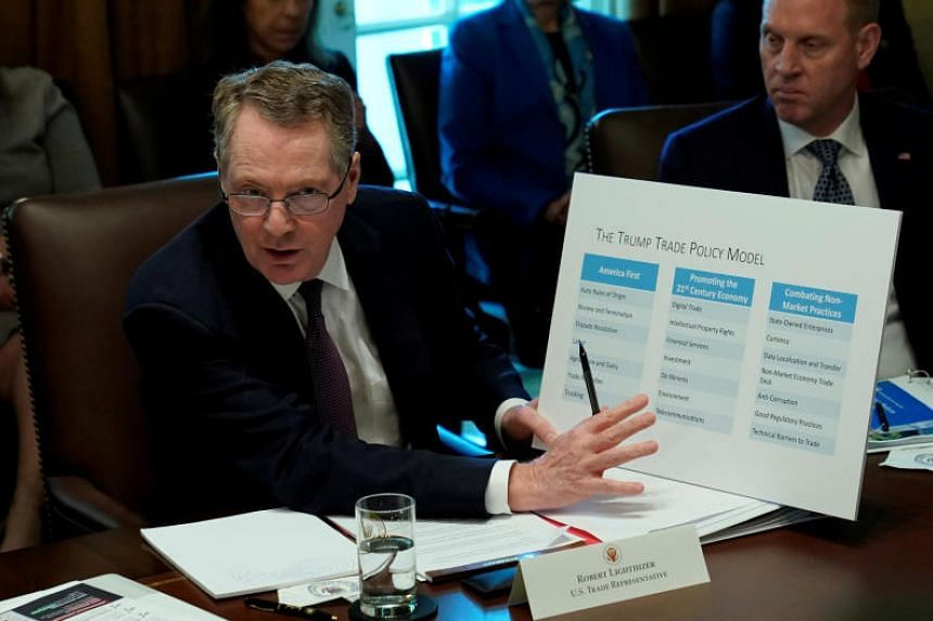 US Trade Representative Robert Lighthizer speaks during a Cabinet meeting held by US President Donald Trump at the White House in Washington, US, on Oct 17, 2018.