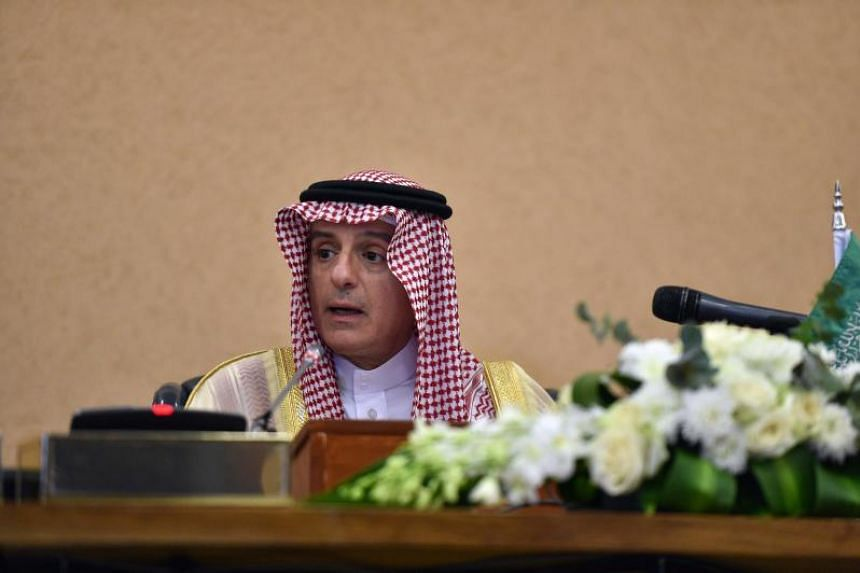 Saudi Foreign Minister Adel al-Jubeir speaks during a press conference at the Diriya Palace in the Saudi capital Riyadh during the Gulf Cooperation Council summit on Dec 9, 2018.