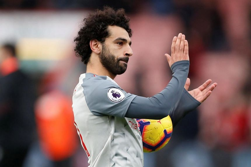 Liverpool's Mohamed Salah applauds fans after the match between AFC Bournemouth and Liverpool in the Vitality Stadium, Bournemouth, Britain, on Dec 8, 2018.