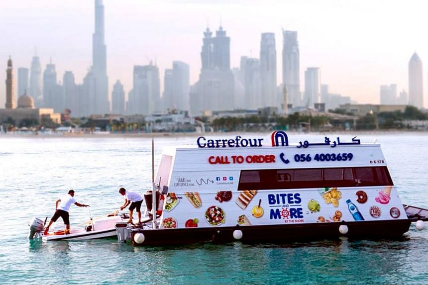 The floating supermarkets offer more than 300 products from snacks and fresh foods to sunscreen and over-the-counter medicines.
