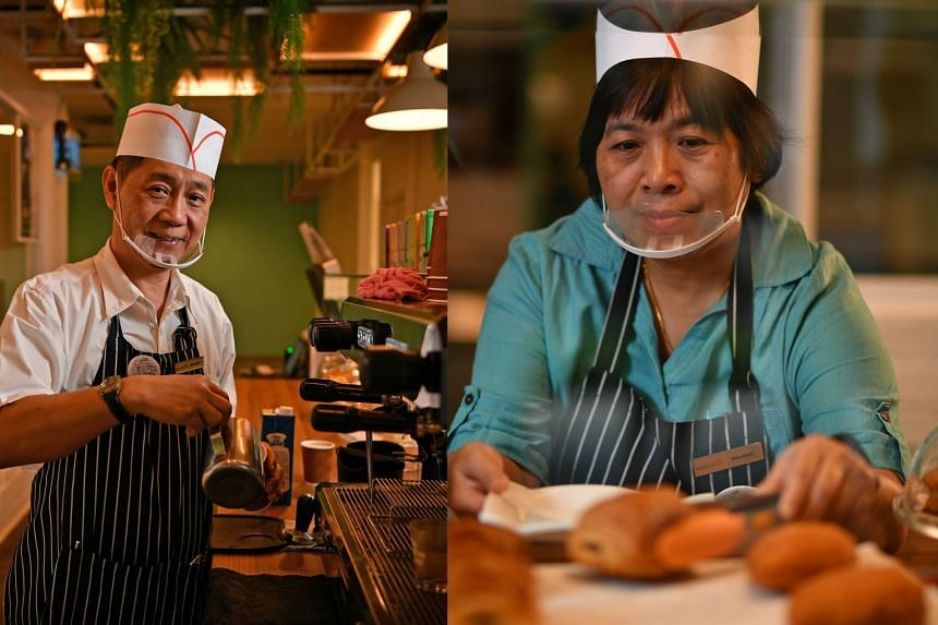 Mr Chua Kok Leong, a retired taxi driver, and Madam Phang Jee Eng, a former bookshop assistant, are among volunteers who work at the cafe in Khatib. They get basic training and are paid a token sum for performing tasks such as brewing coffee and ser