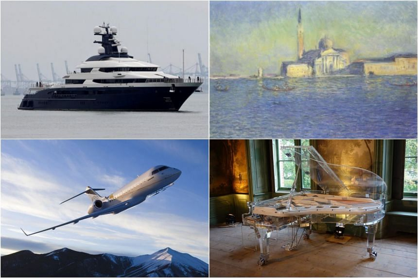 Its targets include a US$250 million yacht, a US$35 million Bombardier jet, paintings, and a see-through grand piano.