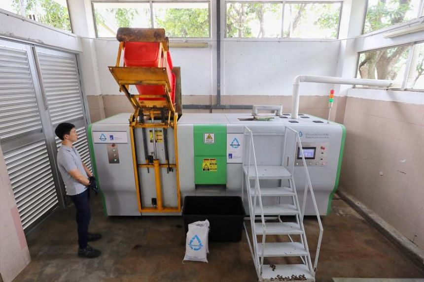 The food digester turns food waste into fertiliser for gardens within 24 hours.