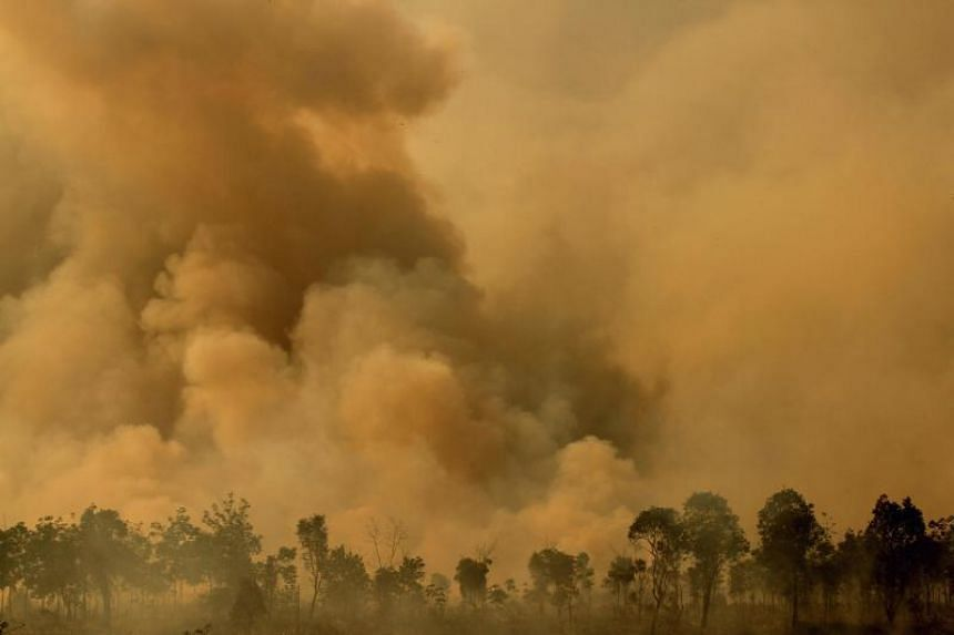 Thick smoke from a fire billows in Ogan Ilir, South Sumatra on Sept 17, 2018.