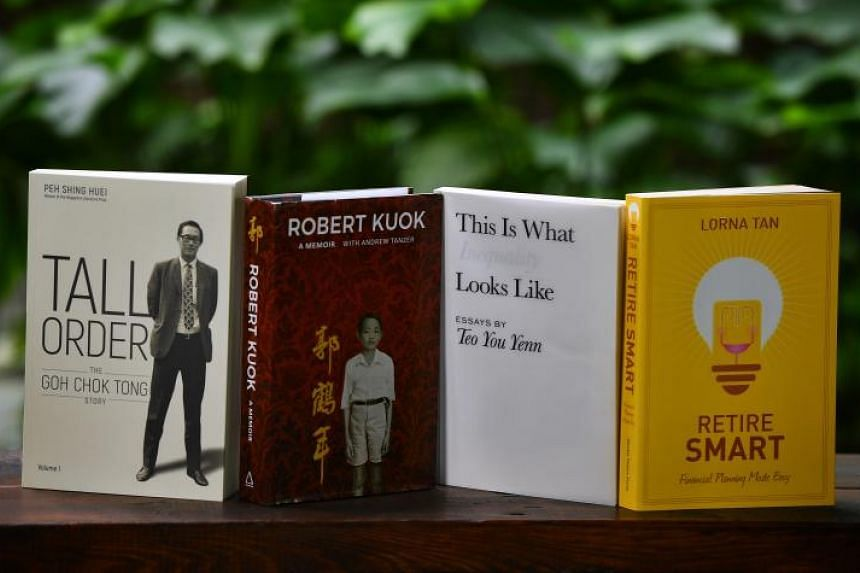National bestsellers (from left) Tall Order: The Goh Chok Tong Story, Robert Kuok: A Memoir, This Is What In Equality Looks Like, Retire Smart: Financial Planning Made Easy.