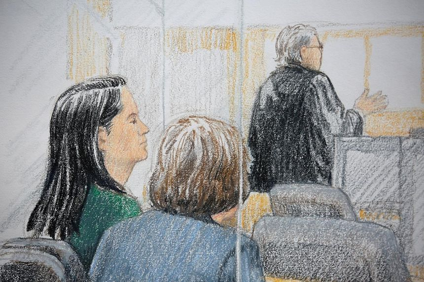 A court sketch showing Huawei finance chief Meng Wanzhou at last Friday's bail hearing. People waiting in line to attend the first bail hearing of Huawei Technologies' chief financial officer Meng Wanzhou in Vancouver last Friday. The hearing lasted