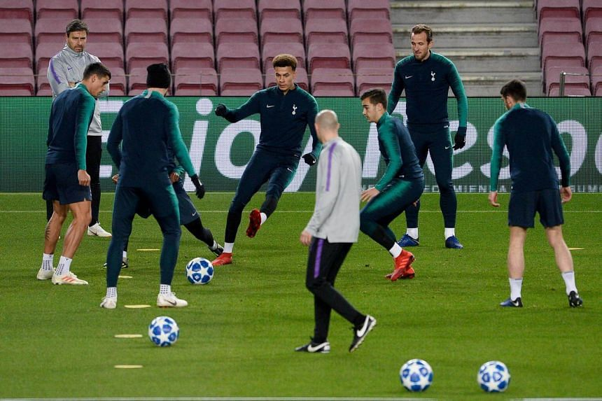 Tottenham Hotspur's players take part in a training session on the eve of the Uefa Champions League group B football match against FC Barcelona at the Camp Nou stadium in Barcelona, on Dec 10, 2018.