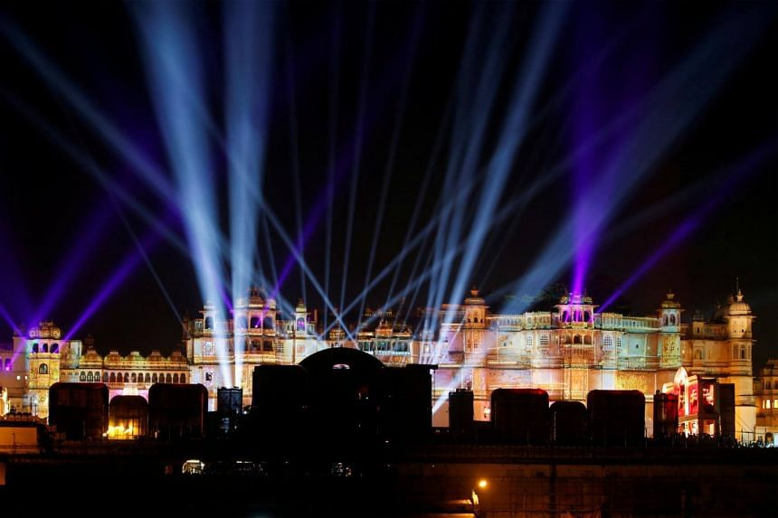 A view of the illuminated City Palace, one of the venues for the pre-wedding celebrations of Isha Ambani is seen in Udaipur, in the desert state of Rajasthan, India, on Dec 9, 2018.
