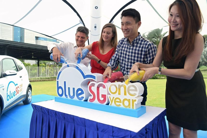 (From left) Managing director of BlueSG Franck Vitte, managing director of Blue Solutions Marie Bollore, Senior Parliamentary Secretary for Transport Baey Yam Keng and commercial and network director of BlueSG Jenny Lim at the celebration of BlueSG's