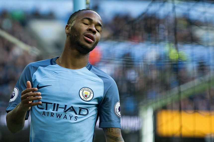 Manchester City's Raheem Sterling reacts during the English Premier League soccer match between Manchester City and Southampton at the Etihad Stadium in Manchester, Britain, on Oct 23, 2016.