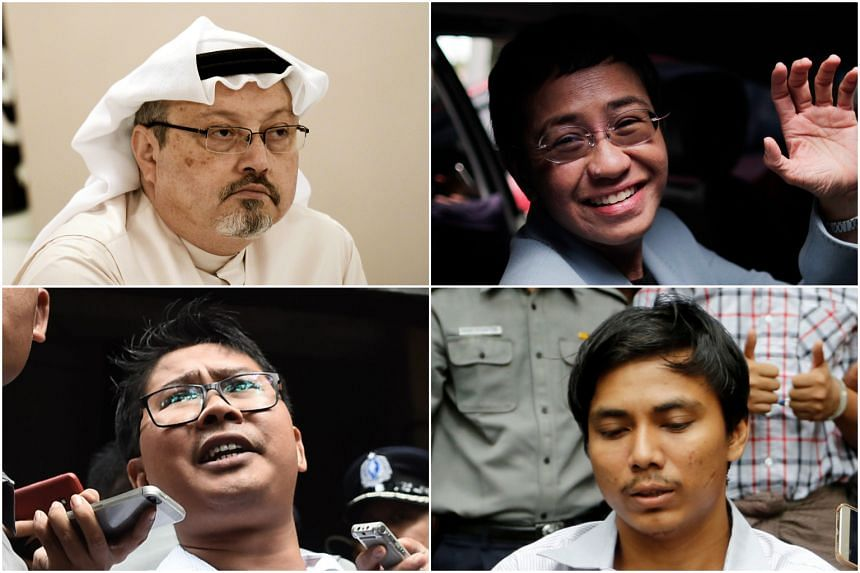 (Clockwise from top left) Saudi journalist Jamal Khashoggi, Philippine journalist Maria Ressa and Reuters reporters Kyaw Soe Oo and Wa Lone were named Time magazine's Person of the Year, alongside the staff of the Capital Gazette in Annapolis, Maryla