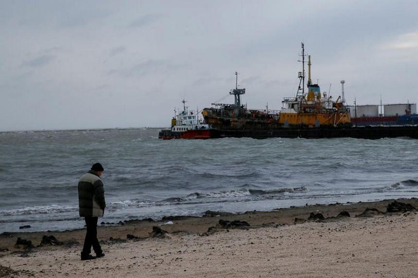 A beach in front of the Azov Sea port of Berdyansk, Ukraine, on Nov 30, 2018.