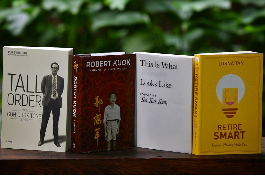 (Left) Tall Order: The Goh Chok Tong Story by Peh Shing Huei; Robert Kuok: A Memoir by Robert Kuok with Andrew Tanzer; This Is What Inequality Looks Like by Teo You Yenn; and Retire Smart: Financial Planning Made Easy by Lorna Tan have sold thousands