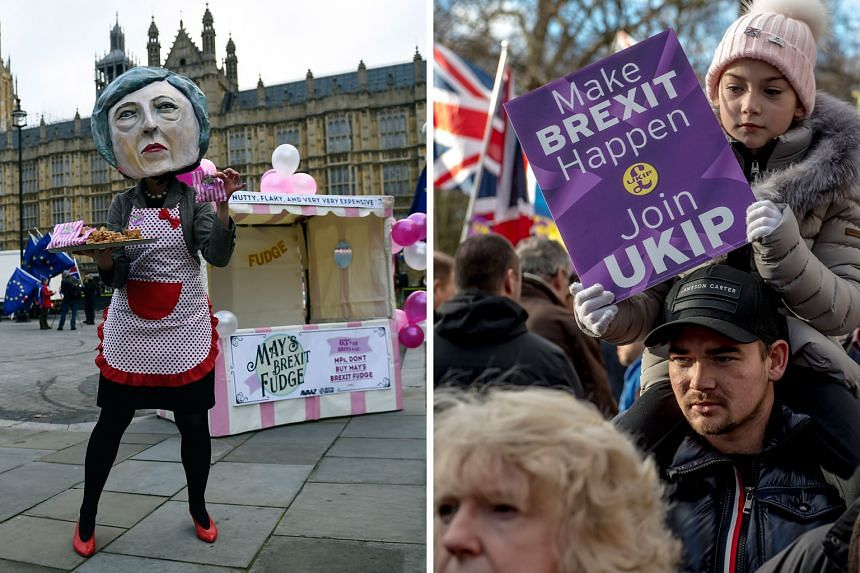 """Left: An anti-Brexit campaigner dressed as Mrs May selling her Brexit """"fudge"""" deal outside Parliament in London yesterday. Right: Pro-Brexit demonstrators taking to the streets of London on Sunday ahead of the parliamentary vote on the Brexit dea"""