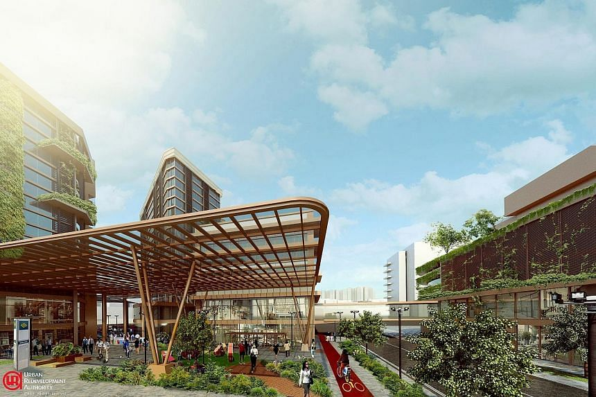 An artist's impression of the public plaza within the future development, which will be directly connected to the upcoming Thomson-East Coast Line and the existing North-South Line on the MRT network.