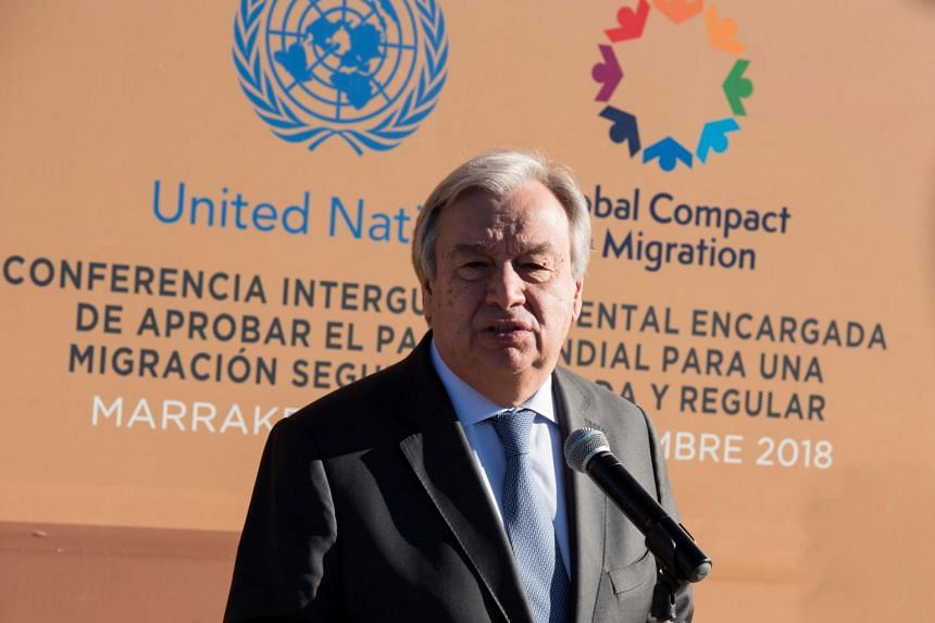 United Nations Secretary-General Antonio Guterres speaks to reporters during the Intergovernmental Conference on the Global Compact for Migration in Marrakech, Morocco, on Dec 10, 2018.