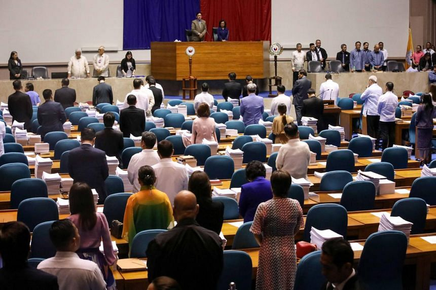 Philippine lawmakers attend the joint session at the Philippine Congress in Quezon on Dec 12, 2018. Mindanao will be kept under martial law until Dec 31, 2019.