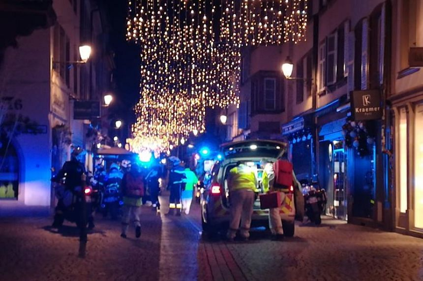 Rescuers in the streets of Strasbourg, eastern France, after a shooting, on Dec 11, 2018.