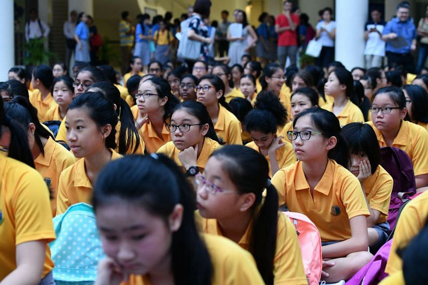 File photo of Secondary 1 students from Cedar Girls' Secondary School.