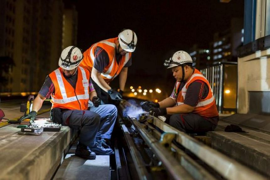 The Bukit Panjang LRT engineering team carrying out Insulated Rail Joint replacements along the network.
