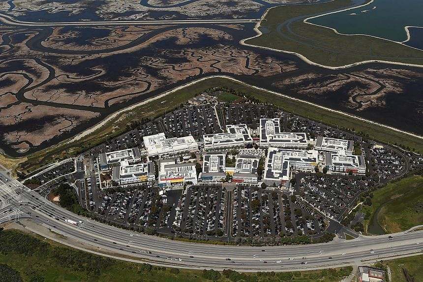 The Facebook campus is shown in this aerial photo in Menlo Park, California, on April 6, 2016.