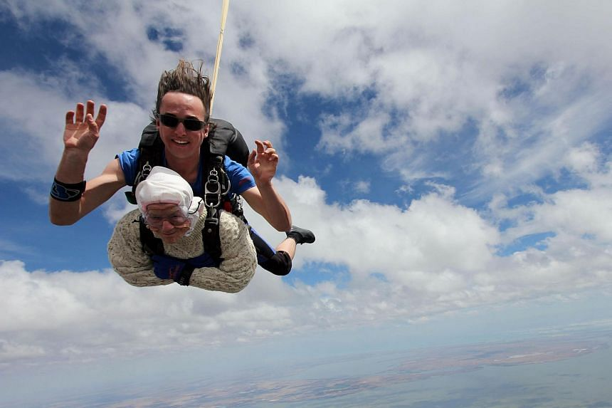 Great-grandmother Irene O'Shea during her skydive tandem jump over Wellington in South Australia.