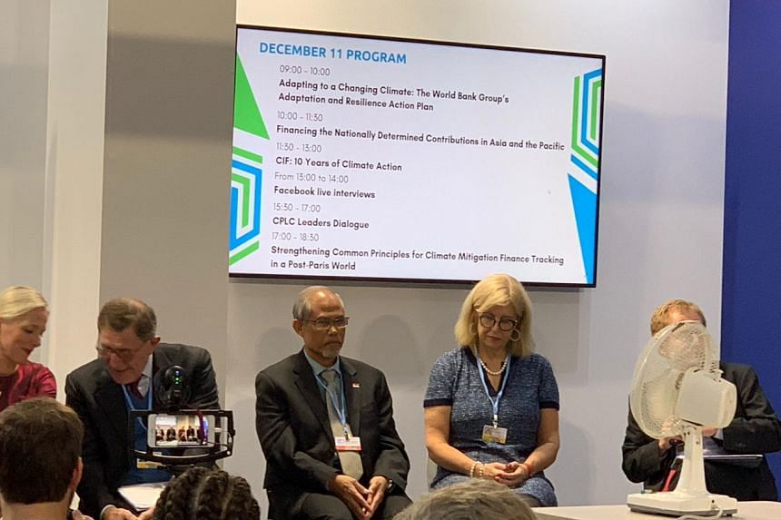 Minister for the Environment and Water Resources Masagos Zulkifli (centre) at a panel discussion on the role of carbon pricing in reducing emissions at COP24 in Katowice, Poland, on Dec 11, 2018.