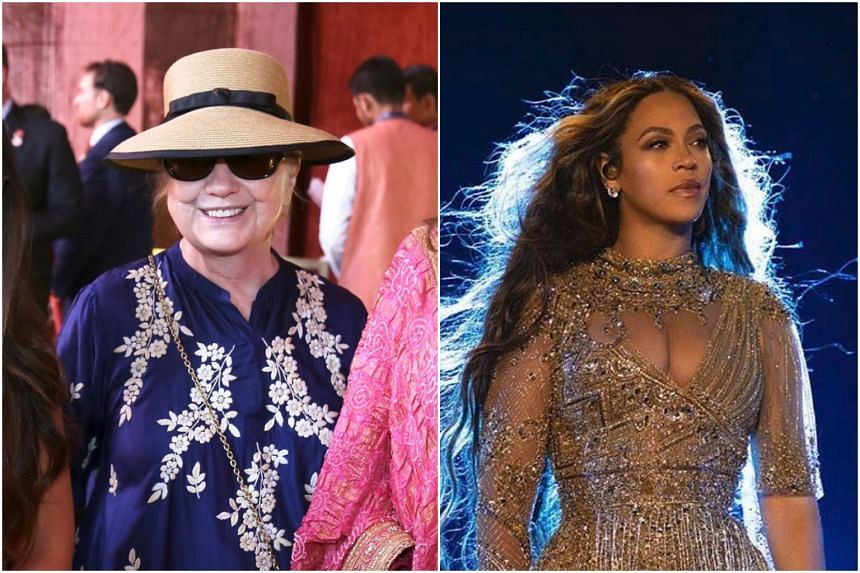 A concert by Beyonce (right) was part of the pre-wedding festivities while attendees included American politician Hillary Clinton (left).