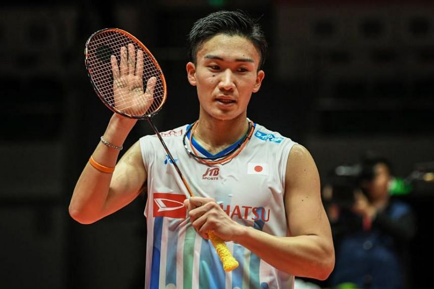 Japan's Kento Momota reacts during his men's singles first round match against Sameer Verma of India at the 2018 BWF World Tour Finals of badminton in Guangzhou, China, on Dec 12, 2018.