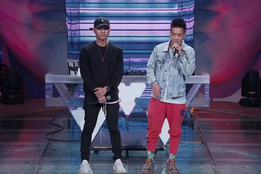 Singaporeans DJ KoFlow (left) and beatboxer Dharni Ng on Chinese electronic music reality television program Rave Now.