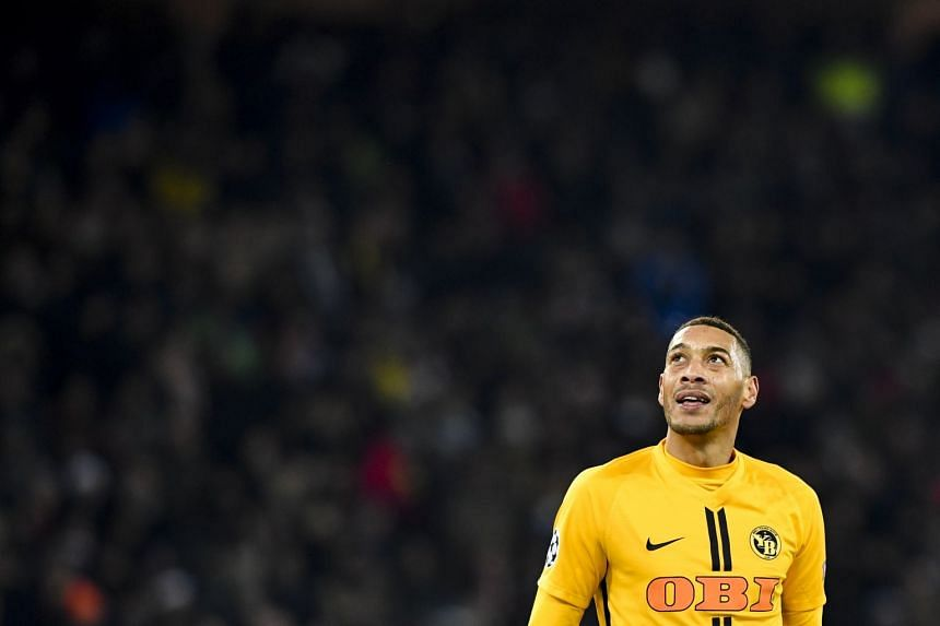 Young Boys' Guillaume Hoarau reacts during the match.