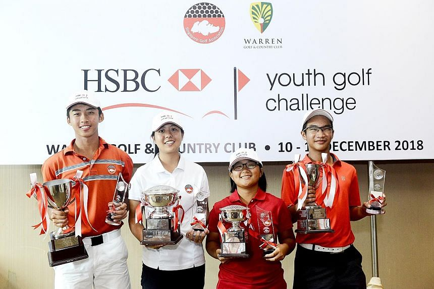 The second leg of the HSBC Youth Golf Challenge 2018 concluded at Warren Golf and Country Club yesterday, with Singapore Golf Association (SGA) development squad members Sean Lee (left) and Inez Ng (second from left) winning the boys' and girls' A di